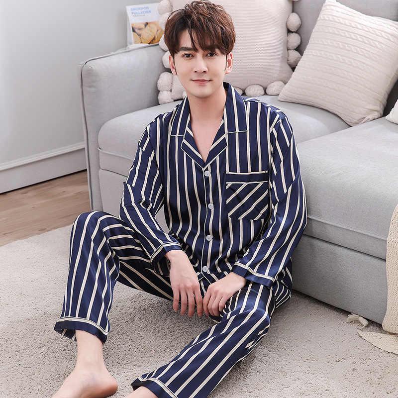 979b6d19c2 ... Lover Silk Pajamas Long Sleeve Striped Satin Pyjamas Lounge Couples Pajama  Sets