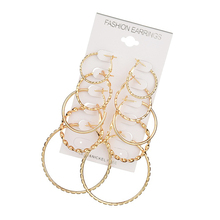 2019 Oversize Gold Color Big Circle Hoop Earrings Set for Women Vintage Punk Ear Wedding Party Jewelry Gift 5 Pair/lot