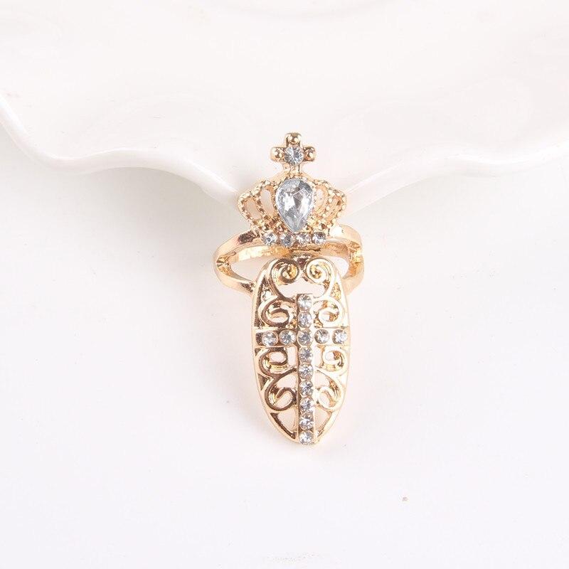 Золотой узор 100% F305 кольца моды личности Крест Корона формы ногтей кольцо для Для женщин праздничная одежда на свадьбу 2018 оптовая продажа