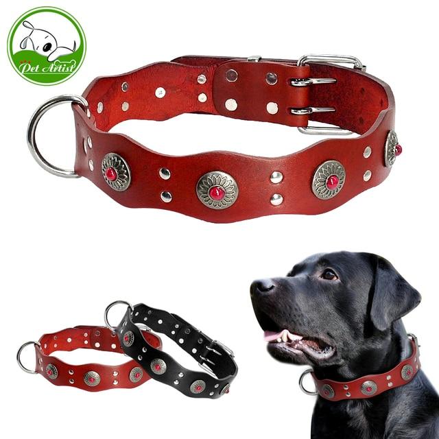 Coleira de cachorro de couro genuíno, durável, feito à mão, ajustável, preto, marrom, para cães médios e grandes