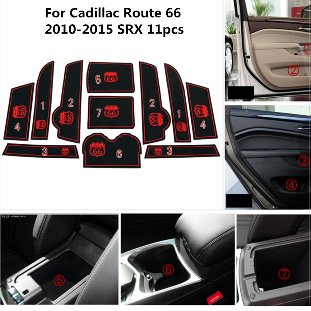 Door Groove Gate Slot Pad Anti Slip Mats Non-Slip Cup For Cadillac Route 66 2010-2015 SRX Protection Car-styling Acccessories