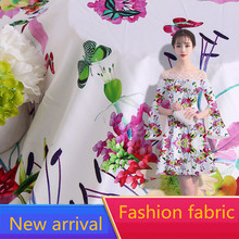RUBIHOME New Arrival Wholesale (5 meters/lots) Summer Silk Soft Fabric Print Flower for Making Women Dress Width 160cm Hot Sell