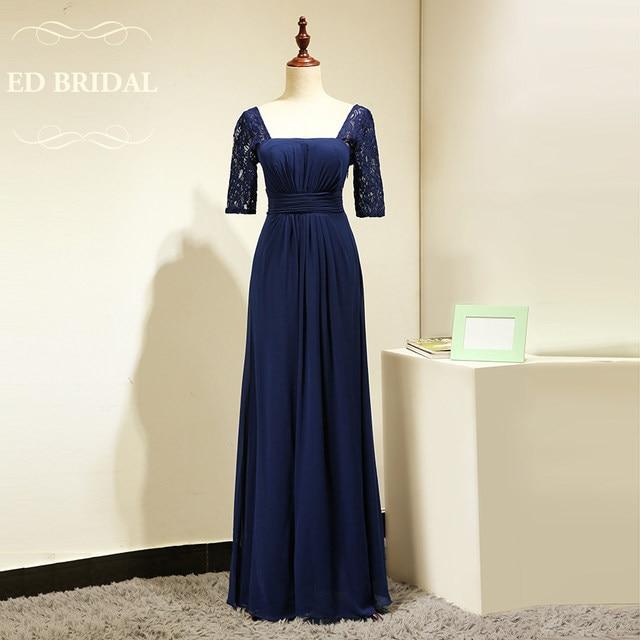 Online Shop Custom Made Lace Short Sleeves Chiffon Navy Blue ...