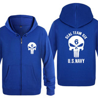 Mens Hoodie Seal Team Six US NAVY Skull Hoodies Men Hip Hop Fleece Long Sleeve Zipper Jacket Coat Sweatshirt Skate Tracksuit