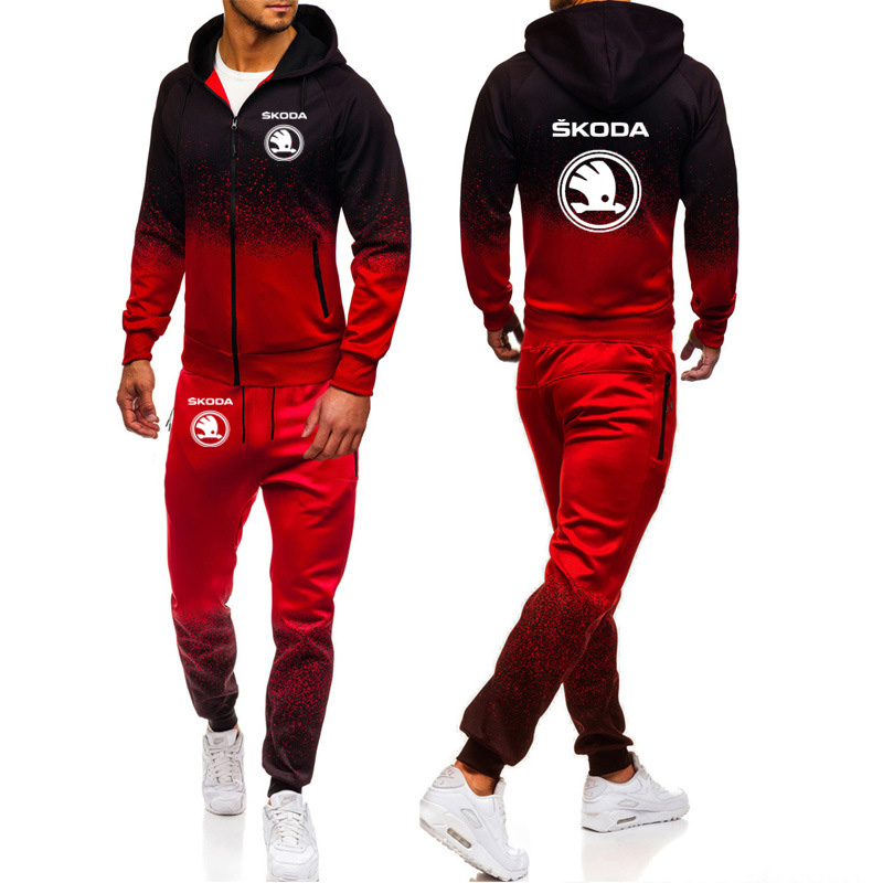 Hoodies Men Skoda Car Logo Print Casual Harajuku Gradient Color Hooded Fleece Zipper Jacket Sweatshirt Sweatpants Suit 2pcs