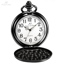 KS Retro Caja de Acero Blanco Analógica Relogio masculino Fob Clave colgante Hombre Reloj Colgante de Cadena de Los Hombres de Cuarzo Reloj de Bolsillo Fob/KSP001