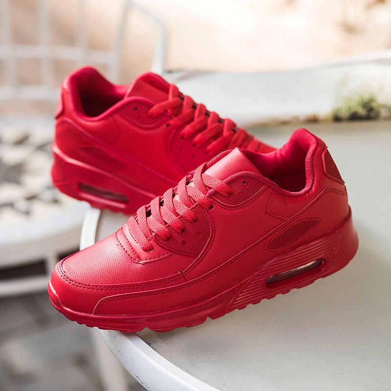 Hundunsnake Leather Wanita Olahraga Sepatu Udara Bantal Pria Sneakers untuk Menjalankan Hitam Zapatos Mujer Sepatu Femme 2018 Kaki G-28