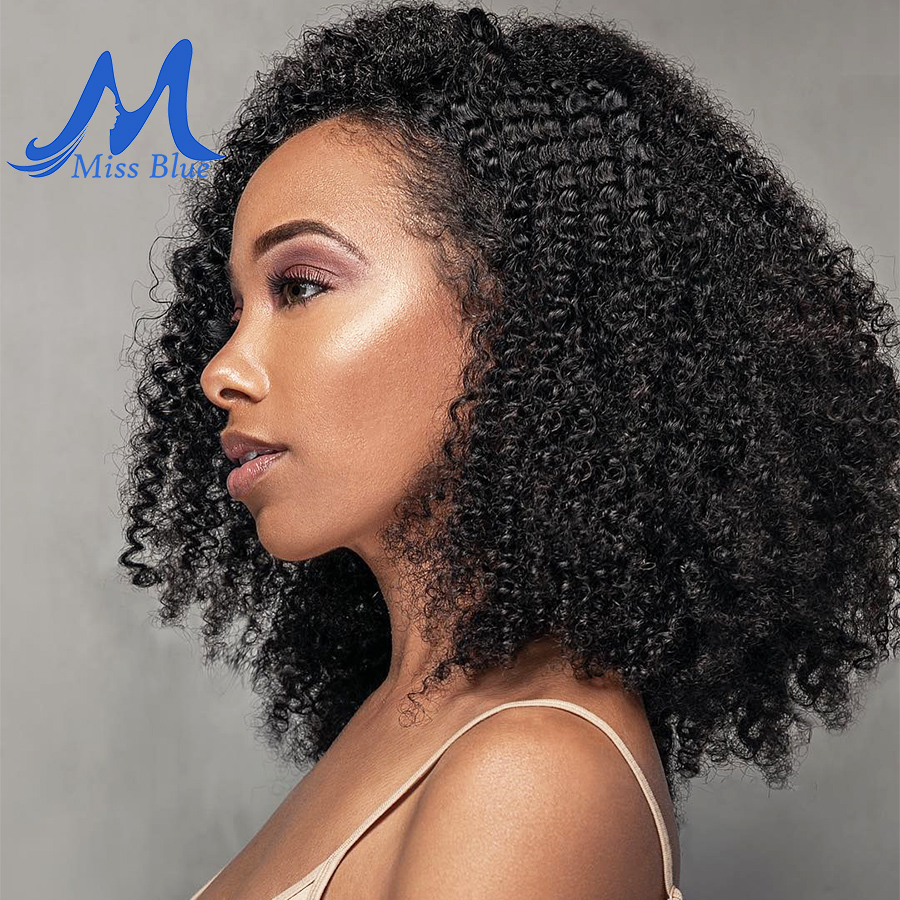 Missblue Afro Kinky Curly Virgin Hair 3 / 4 Bundles Brazilian Hair Weave Bundles 100% Remy Human Hair Extensions Natural Color 1