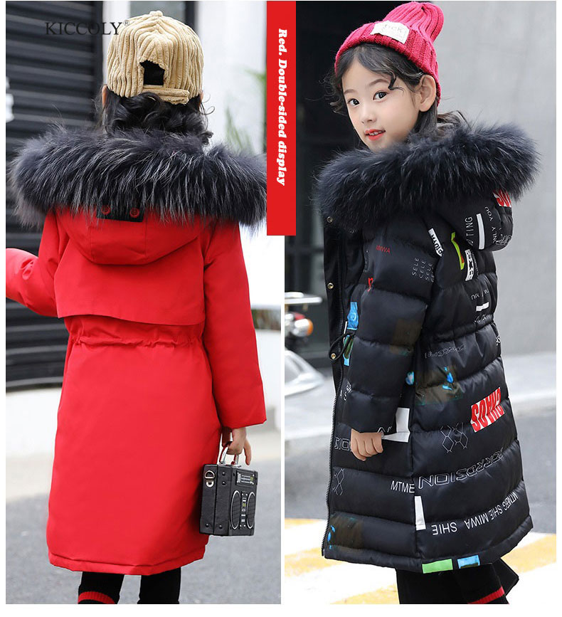 2018 New Fashion Children Winter Jacket  Girl Two-sided Wear Coat Kids letter Warm Thick Fur Collar Hooded Long Down Coats new women winter down cotton long style jacket fashion solid color hooded fur collar thick plus size casual slim coat okxgnz 910