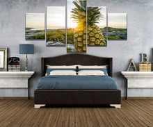 Framed 5 Piece HD Print Sunset Pineapple Fruit Cuadros Landscape Canvas Wall Art Home Decor For Living Room Painting