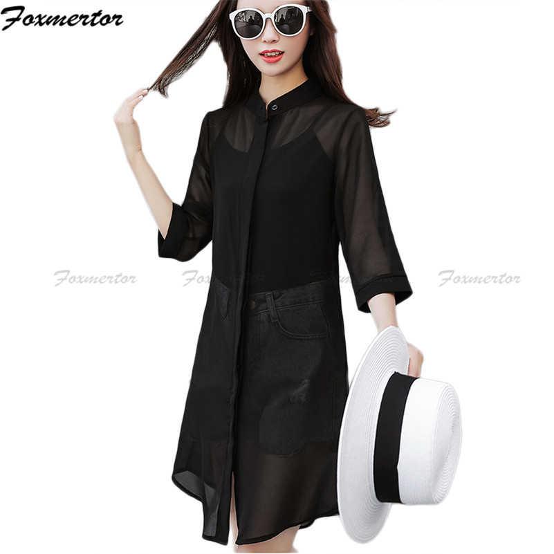 Женское повседневное кимоно кардиган 2019 летний Кардиган женские прозрачные черные сексуальные блузки шифоновые пляжные рубашки солнцезащитные кардиганы