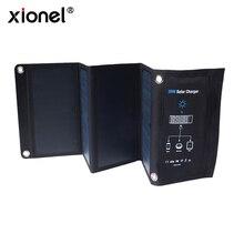 Xionel 28W מתקפל פנל סולארי מטען נייד עם תשלום מהיר 3 USB יציאת יעילות גבוהה Sunpower פנל סולארי עבור הסלולר