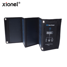 Xionel 28Wพับชาร์จพลังงานแสงอาทิตย์แบบพกพาFast Charge 3 พอร์ตUSBประสิทธิภาพแผงพลังงานแสงอาทิตย์Sunpowerสำหรับโทรศัพท์มือถือ
