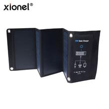 Xionel 28W Pieghevole Pannello Solare Caricatore Portatile con Carica Veloce 3 Porta USB Ad Alta Efficienza Sunpower Pannello Solare per cellulare
