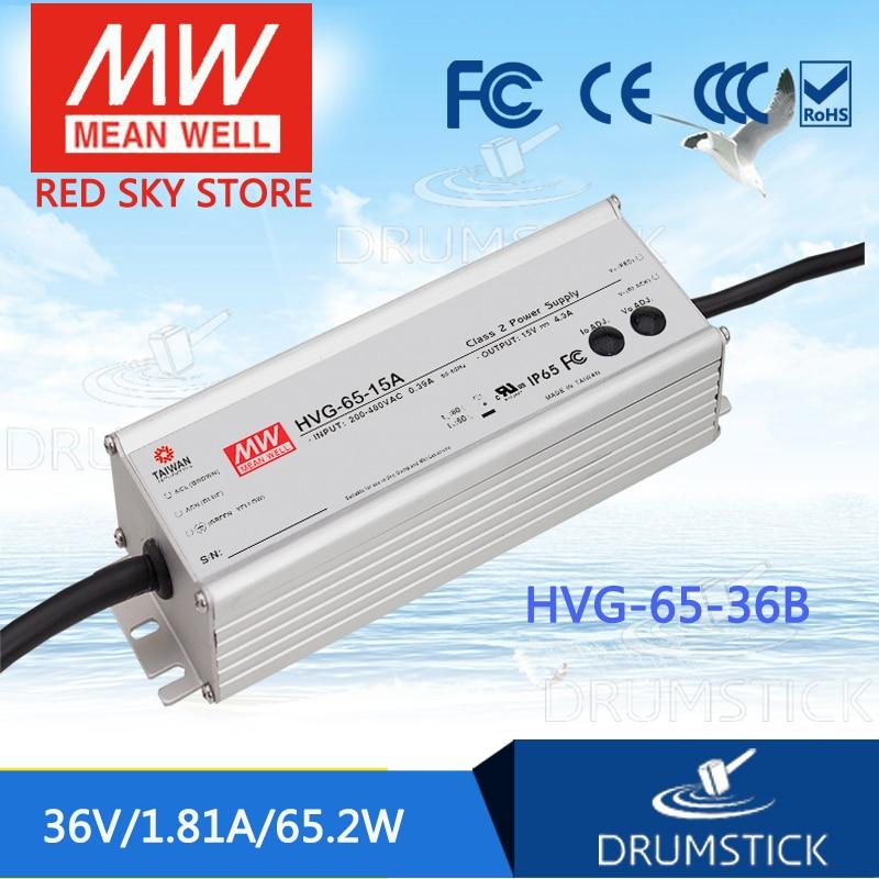 цена на MEAN WELL HVG-65-36B 36V 1.81A meanwell HVG-65 36V 65.2W Single Output LED Driver Power Supply B type