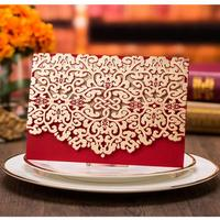 Hot 50pcs Pack Hollow Flower Engagement Married Birthday Party Invitations Cards With Envelope Print The Inside