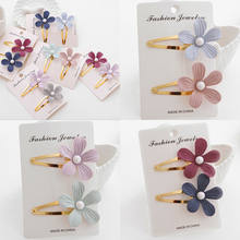 Fashion Girls Pearl Flower Hair Clip Accessories Barrette Hawaiian Wedding Party 2pcs/Sets(China)