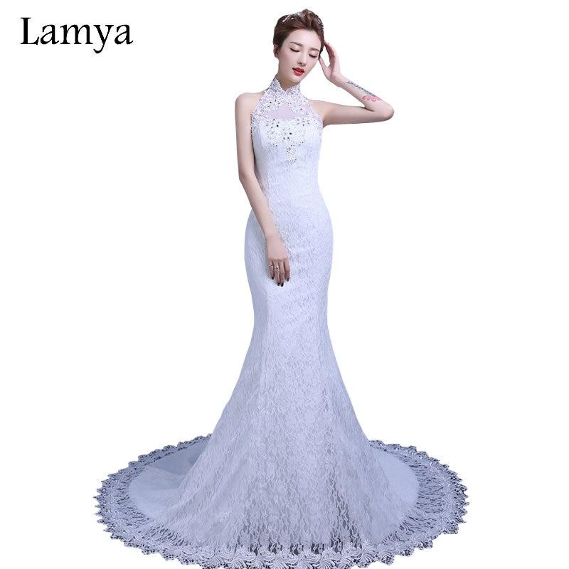 Lace Halter Wedding Gown: LAMYA Newest Customized Halter Elegant Lace Mermaid