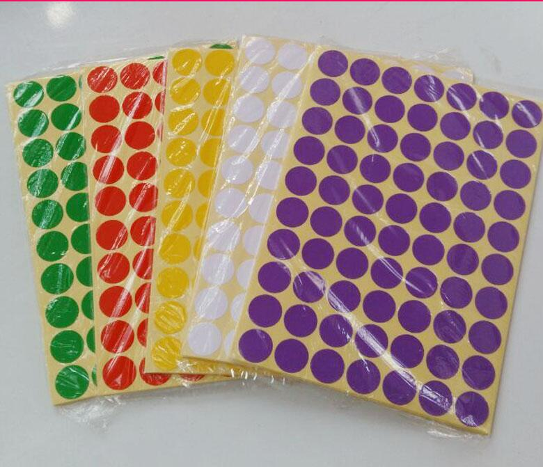 12 colours 15mm Round dot Stickers Coloured Circles Circular Sticky Labels