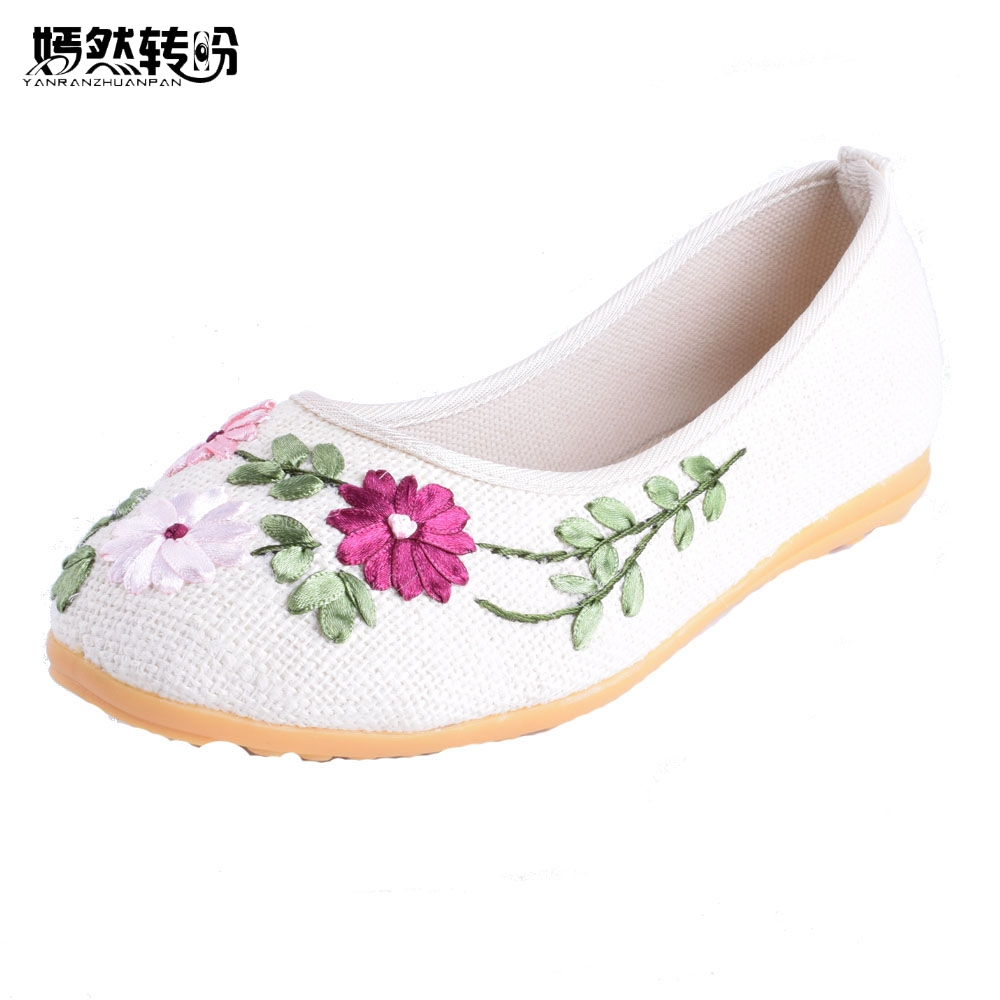 Chinese Women Flats Retro Soft Shoes Old Peking Chinese Flower Embroidery Canvas Linen Ballet Shoes Woman Sapato Feminino peacock embroidery women shoes old peking mary jane flat heel denim flats soft sole women dance casual shoes height increase