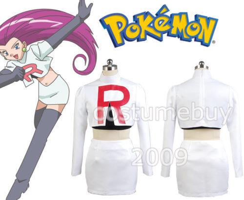 Pokemon Team Rocket Jessie Cosplay Costumes For Women Cartoon Anime Halloween Costume Custom Made pokemon team rocket jessie women white uniform dresses club party cosplay costume