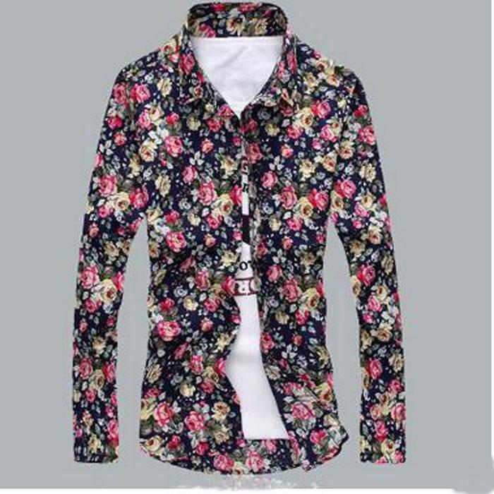 Yeni Marka Çiçek Gömlek Baskı Ince Uzun Kollu T Gömlek Erkekler - Erkek Giyim