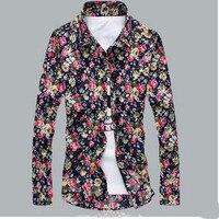 New Brand Floral Shirt Print Slim Long Sleeve T Shirt Men Tee Turn Down Casual Men