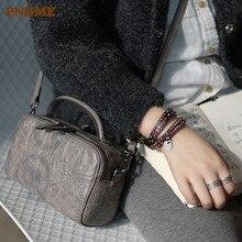 PNDME simple gray genuine leather ladies handbag cowhide fashion original handmade shoulder bag diagonal package female small