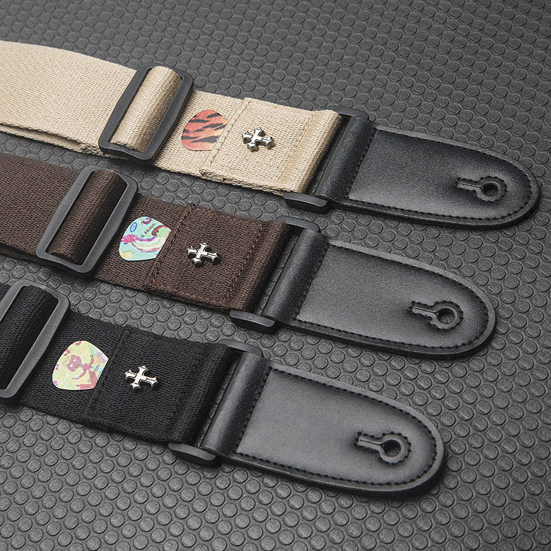 SLOZZ Acoustic Electric Guitar Strap Can Hold 1 Pick Woven Cloth Leather End 5cm Width 155cm Length Guitar Bass Accessories