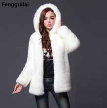 Winter Women Hooded Faux Fur Coat Fashion Warm Long-sleeved Loose Black Coat Female Flocking Cotton Jacket Coat Plus Size drawstring zip pocket faux fur hooded flocking jacket