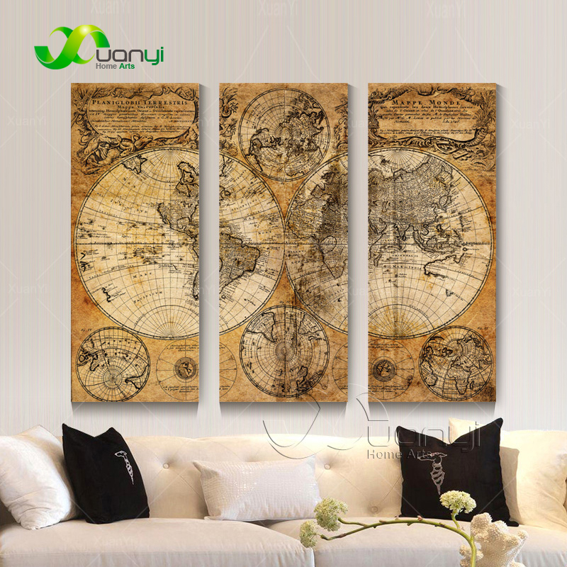 Aliexpress Com Buy Unframed 3 Panel Vintage World Map: Aliexpress.com : Buy 3 Panel Picture Map Europe Canvas Oil