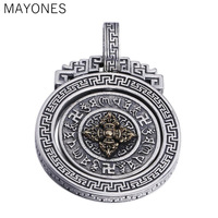 MAYONES 100% 925 Silver Tibetan OM Six Words Pendant Sterling Tibetan Dorje Pendant Vintage Pure Silver Buddhist Vajra Pendant
