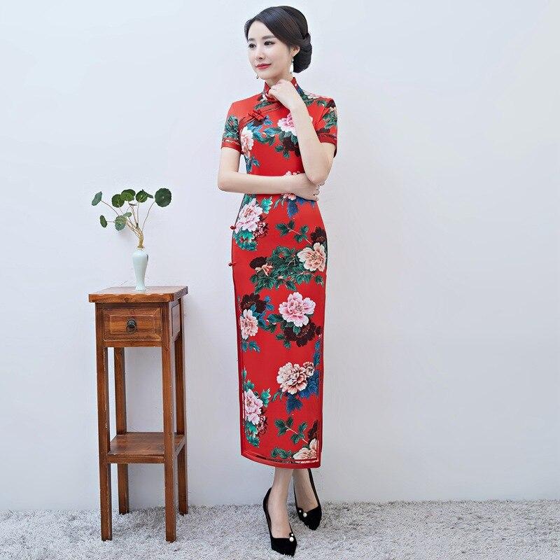Femmes Vintage Cheongsam nouveauté imprimé Floral Slim Sexy Qipao rouge chinois grande taille Satin mandarine col dame robe M-3XL
