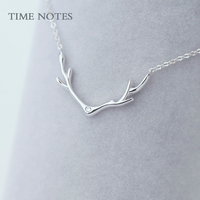 elk antlers silver necklace silver silver jewelry chain simple clavicle lovely Korean Christmas birthday gift jewelry