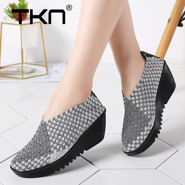 2019 Autumn Women Platform Sneakers Womens Casual Flats Elastic Shoes Loafers Woven Shoes Thick Heel Slip on Shoes Woman 866