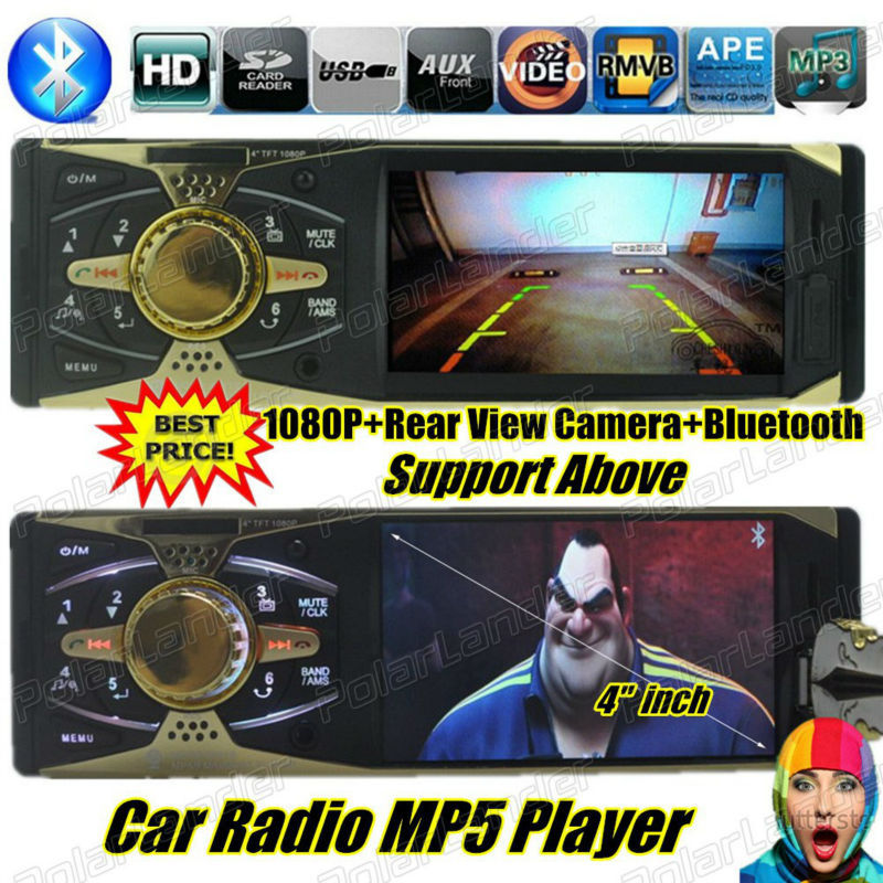 d75ef41d9d43e Novo 4 polegada TFT HD tela rádio do carro jogador de áudio do carro do  Bluetooth USB SD aux in 1080 P filme FM MP3 MP4 MP5 1 din áudio do carro ...