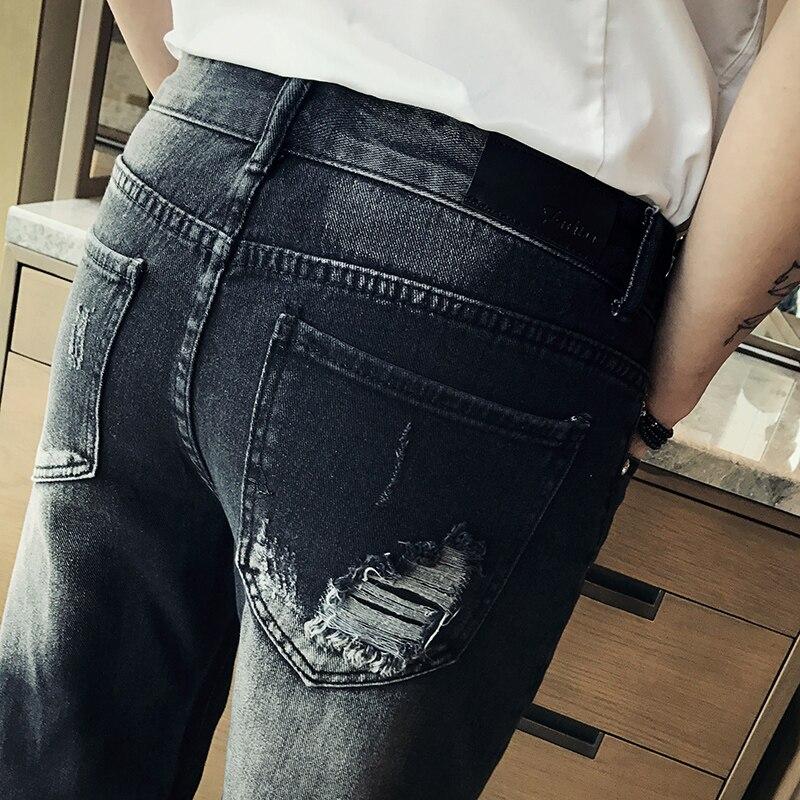 Mens Black Jeans Shorts 2018 Summer Men Hole Knee Shorts Size 28-36 Small Elasticity Denim Shorts Men