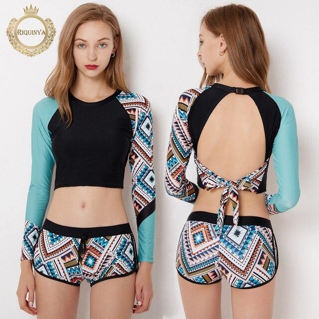 2018 Print Floral Two Piece Swimsuit Long Sleeve Swimwear Short Pants Women  Bathing Suit Swimsuit Wetsuit Surfing Swim Suits 5126897e1