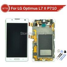 Para lg optimus l7 ii p710 pantalla lcd táctil digitalizador asamblea con marco blanco del envío libre