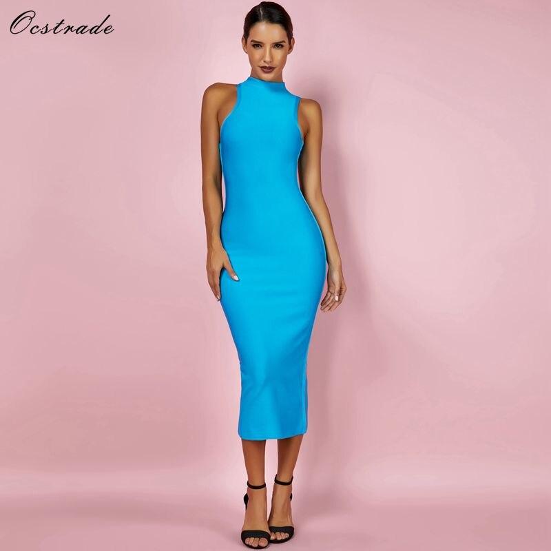 Ocstrade Women Summer Bandage Dresses 2019 Aqua Blue Midi Dress High Neck Sexy Bodycon Rayon Quality