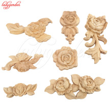 hot deal buy 4pcs european oak wood floral carving applique home decoration accessories door cabinet furniture home figurines miniatures
