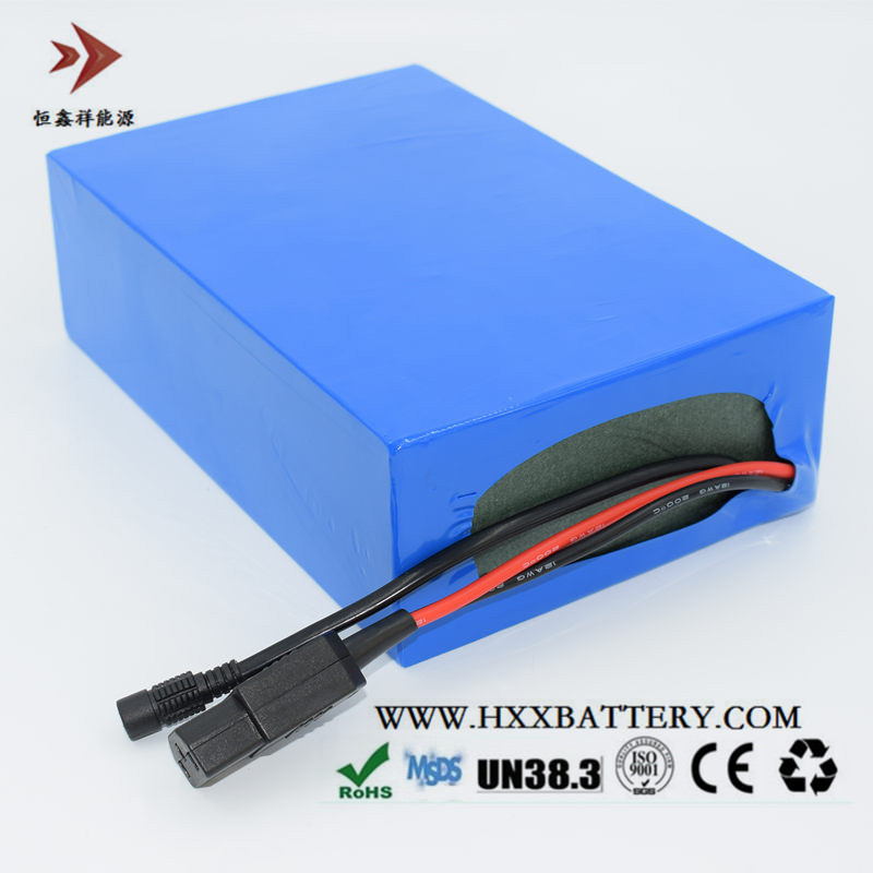 HXX 48V 20AH Lithium 13 Series Battery Pack Li-ion 18650 Cells BMS Built Blue PVC Electric Bicycle Triangular Plug Male Head 48 volt li ion battery pack electric bike battery with 54 6v 2a charger and 25a bms for 48v 15ah lithium battery