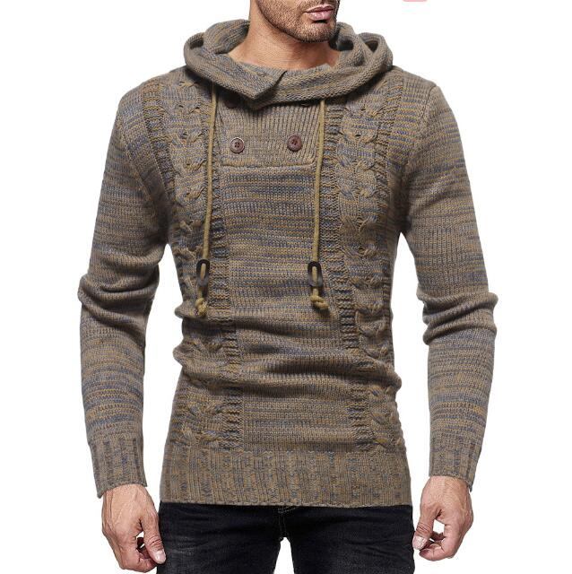 High quality Fashion Stylist Style men's matted double breasted patchwork hooded sweater men's casual pullovers