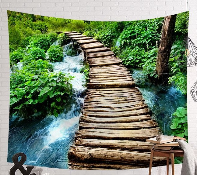 Image 5 - CAMMITEVER Scene Tapestry Printed Fabric Tapestry Easy To Clean Wall Blanket Home Decor Fog Woods Lake-in Tapestry from Home & Garden