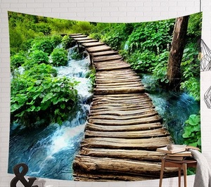 Image 5 - CAMMITEVER סצנה שטיח מודפס בד שטיח קל נקי קיר שמיכת בית תפאורה ערפל יער אגם