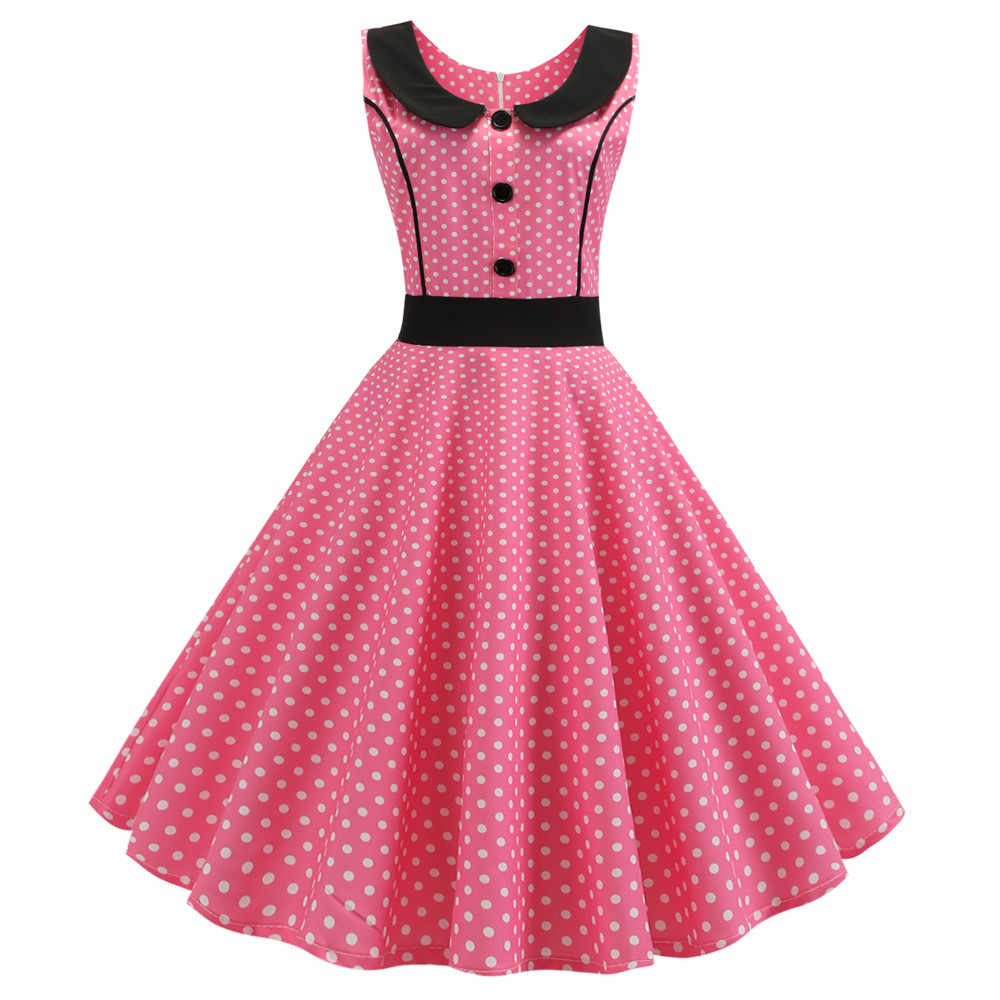 2019 Summer Women Pink Polka Dot Elegant Party Dress Retro Vintage 50s 60s Pin Up Rockabilly Dress Plus Size Casual Robe Femme
