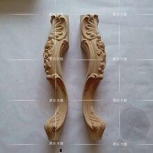4 unids/lote, madera Europea tallado gabinete pie cama pies sofá patas para mesa de centro Muebles Para piernas TV gabinete pie (A130)