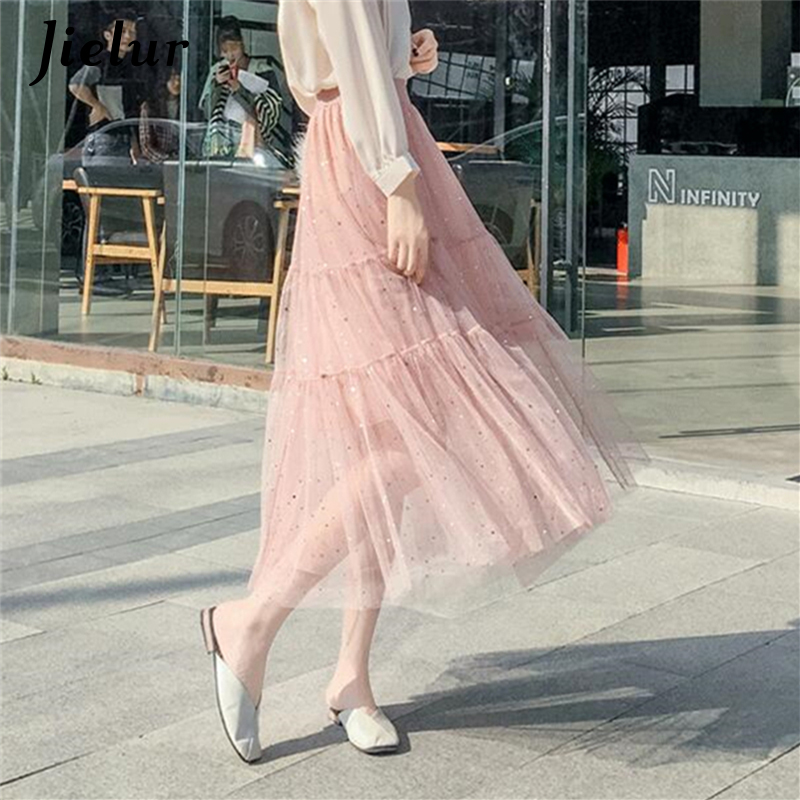 Jielur High Waist Pleated Skirts Womens Star Sequins Splicing Mesh Tulle Skirt Lady Loose Sweet Saia Black Pink Long Skirt 2019