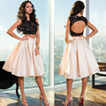 Newest Style Cap Sleeve Scoop Satin Lace Short Cocktail Dress Beaded Open Back 2 Piece Knee Length Dress For Party Vestido Renda