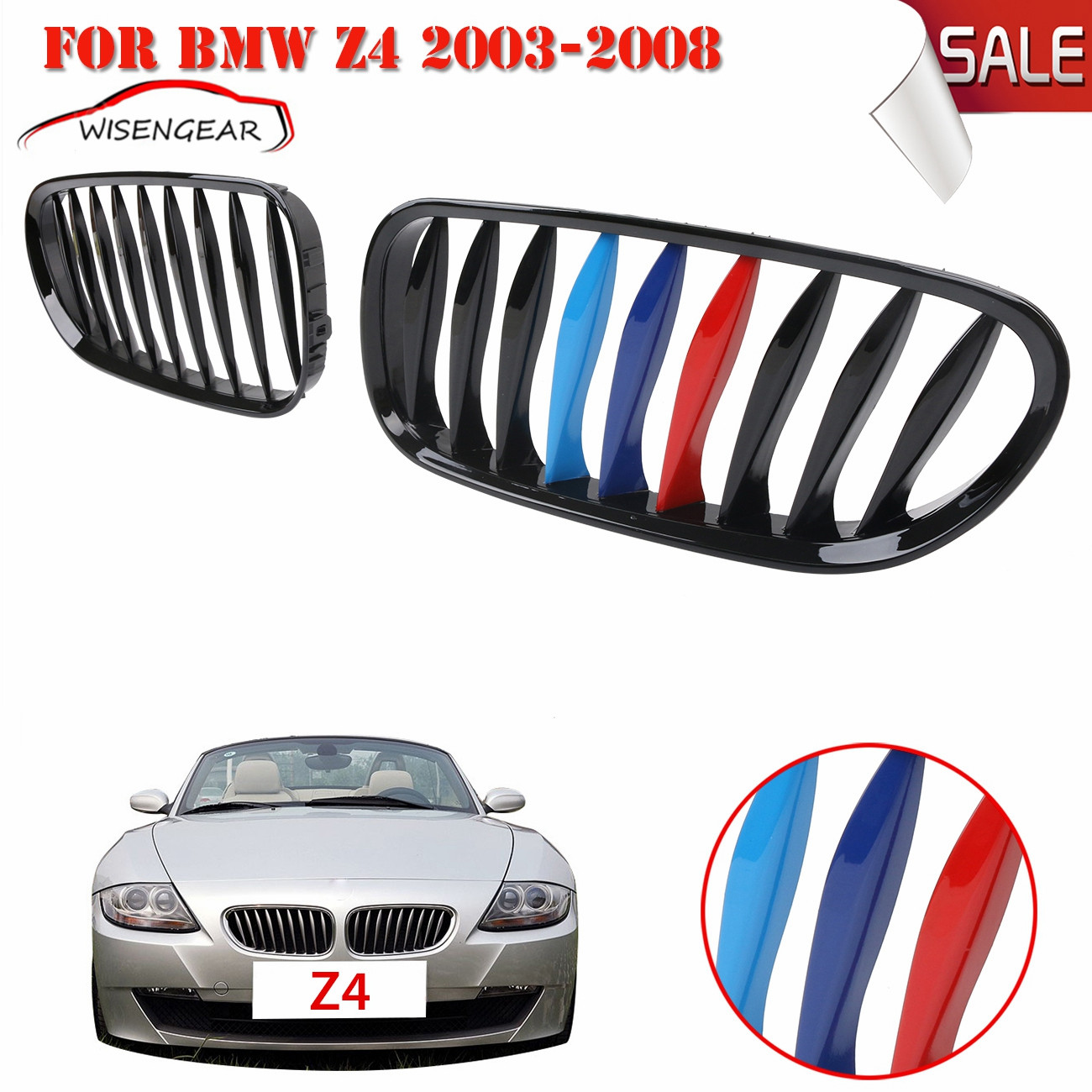 Gloss Black + M color Front Kidney Grille Grill For BMW E85/E86 Z4 2003 2004 2005 2006 2007 2008 Convertible/Coupe C/5 2016 new a pair front grilles left and right double line grille gloss black front grills for bmw 3 series e46 2002 2004 4 door